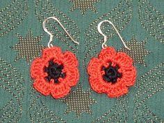 crochet poppy earrings