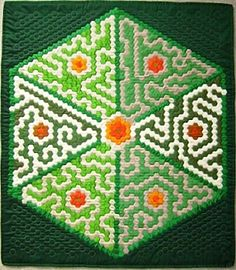 """Seven Garden Maze"" by Cathy Miller at Singing Quilter.  English Paper Piecing class; hexagons."