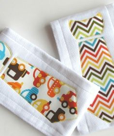 Cute idea for a boys TIE burp cloth!
