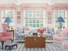 pink and blue chic living room   room? Pink dominates the vintage kitchen below from Coastal Living ...