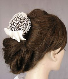 Renaissance Hair Bun Cover & Hairstyles Bun.. http://wp.me/p1N6YF-XN ..Small BUN Cover, Renaissance hairdos were usually as much about the hair-covering as they're about the hair .. #HairBunStyles #HairBunCover #KnitHairBunCover