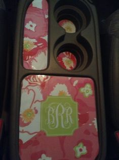 More Lilly Pulitzer car DIY! I cut out templates from cardboard and traced them onto printed out Lilly patterns! I got the monogram from http://blog.jessicamariedesign.com/2013/01/preppy-printable-binder-covers.html for free.  I laminated the paper and used double-sided tape to put them in my car!
