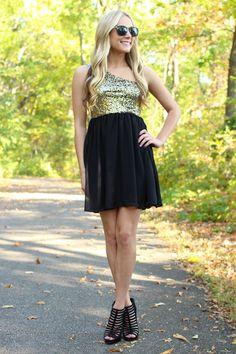 City Sparkle Dress - Gold