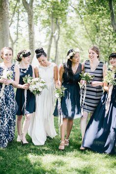 Blue and White Wedding Ideas - Mismatched bridesmaids in navy   Photography: Emily Wren Photography - emilywrenweddings.com  Read More: http://www.stylemepretty.com/2014/09/29/modern-nautical-philadelphia-wedding/