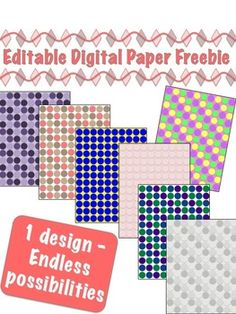Editable Digital Paper FREEBIE-   Pick your own colors! Easy to use PowerPoint file.