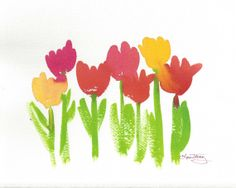 tulip watercolor, spring tulip