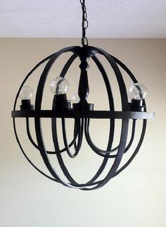 DIY black orb chandelier