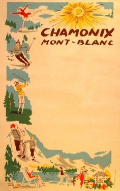 Chamonix Mont Blanc, 1960s - original vintage poster by Pierre Pages listed on AntikBar.co.uk vintage posters, destin poster, vintag poster, sports posters, travel poster