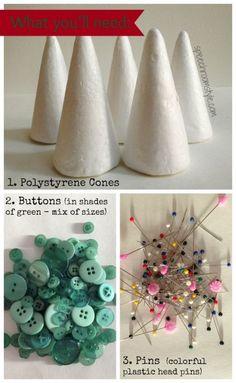 Christmas tree button craft