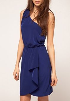 Blue Cascading Ruffle Dress