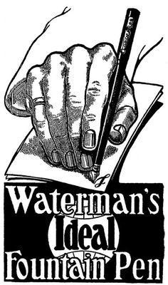 Waterman's Ideal Fountain Pen. #vintage #office #supplies #typewrites #ads