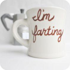 Fart Funny Mug coffee tea cup diner mug brown by KnotworkShop, $12.00