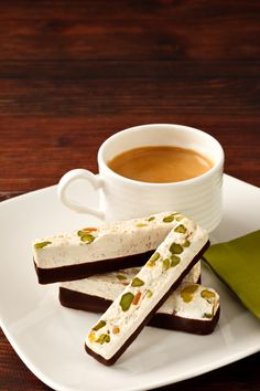 Pair this pineapple, chocolate and pistachio nougat dessert with espresso or tea for an afternoon delight. #chocolate #AUIFineFoods Tea, Treat, Dessert