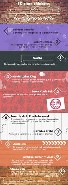 10 citas célebres sobre la ignorancia #infografia