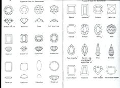 Different types and cutting shapes for gemstones. Mainly for faceted stones. Opal is usually cut with a dome but sometimes crystal opal is faceted. Leave a message for more details