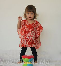 Toddler kaftan caftan kids top red size 2T age 12 24 by VividDress, $15.00