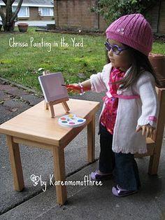 paint set, girl doll, store gem, dollar store, art easel, american girl, doll craft, craft blogs, crafts