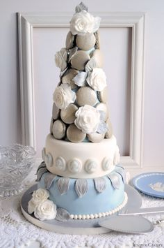 Wedgwood inspired Macaron Tower Cake by Juniper Cakery