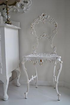 white iron chair - love