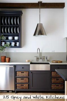 cabinet colors, basket, grey kitchens, sink, shelv