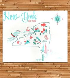 Vintage-Inspired New York Map Print by Paper Parasol Press on Scoutmob Shoppe