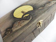 Nightmare Before Christmas Jack and Sally Wood Trinket Keepsake Stash Box on Etsy, $50.00