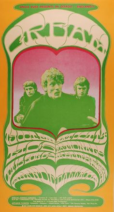 Vintage, retro, hippie, classic rock concert poster - Cream, Bob Dylan