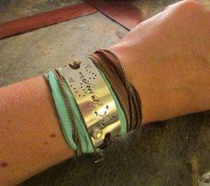 Wanderlust Hand Stamped Silk Wrap Bracelet  by CourtenayJDesigns, $39.00