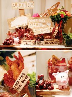 Lets Pig Out Favorite Foods 30th Birthday Party - Bacon Bar, Butter Bar, Green Bar, Potato Bar! featured by HWTM
