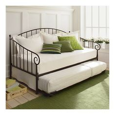 Love the white and greens and the wrought iron day bed! Great for adding guest sleeping space to an office or other small room in the house. decor, idea, guest bedrooms, dream, daybed in guest room, small guest bedroom office, hous, daybeds, guest rooms