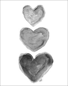 Black Heart Art Watercolor Print Charcoal Grey Black and White Art