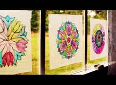"""Thursday, November 14 & Monday, November 18, 2013. Using a black Sharpie, the kids traced a picture onto wax paper. Then they used various Sharpies to color them in, creating a kind of """"stained glass."""""""