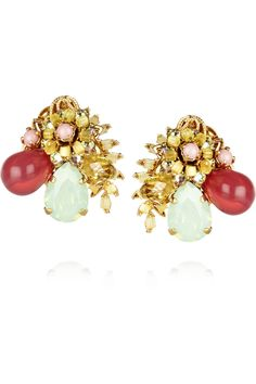 Bijoux Heart | Sucre gold-plated Swarovski crystal clip earrings