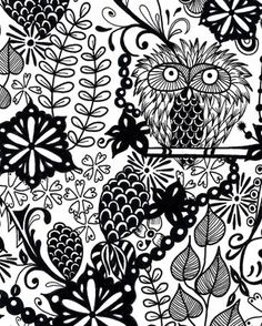 Perching Owl tangle from I.Kan.Tangle