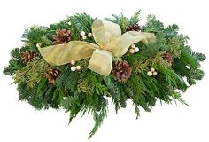 """One Kings Lane - Holiday Greenery - 24"""" Pinecone Centerpiece w/ Gold Bow"""