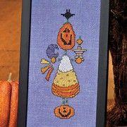 Pumpkin and candy corn cross stitch pattern