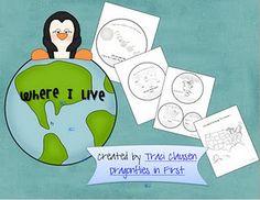 Social Studies... Where I Live Activity - From Earth to your City grade idea, dragonfli, teacher stuff, mondays, school stuff, educ, social studies, scienc, teach idea