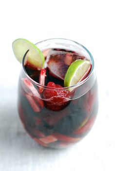 Start with 4 cups wine, 1–2 cups chopped fruit, 2 tablespoons brandy, 2 tablespoons simple syrup, and sparkling water to taste.