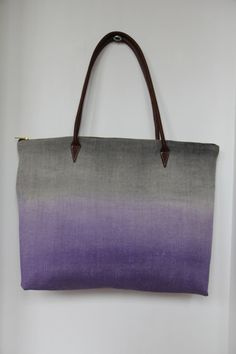 Purple and black hand painted linen and canvas tote /  CAShandmade on Etsy