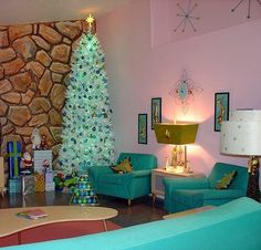Awesome pink mid-century living room