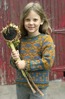 """Flower Garden by Beth Brown-Reinsel Based on motifs and the classic scalloped edge seen in Latvian mittens, this modified drop shoulder sweater is knitted in the round with steeks worked for the armholes and neck. The pattern is sold as part of the """"Green Mountain Weekend"""" ebook."""