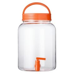Love the orange accent on this dispenser! Mason Beverage Dispenser with Spigot #picnicperfect
