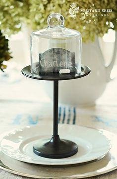 the small pedestal with glass cloche