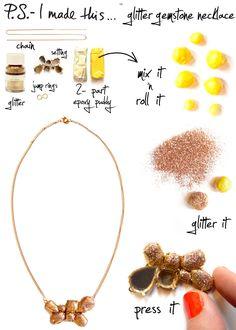 Glitter gemstone necklace