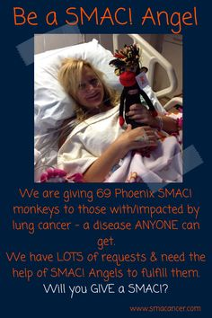 Be a SMAC! Angel and purchase a Phoenix SMAC! monkey for someone with/impacted by #lungcancer.