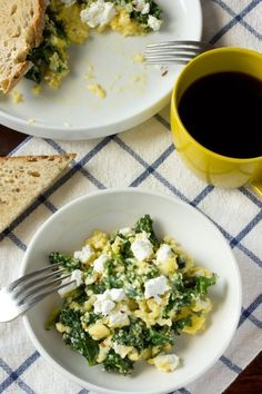 Scrambled Eggs with Goat Cheese and Greens from the Kitchn