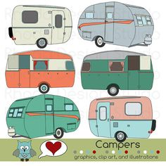 GLAMPING~Vintage Campers Digital Clip Art Retro Camp Trailers