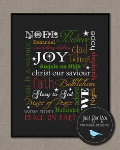 Christmas Decor - Typography, Word Art, Subway Wall Art - Printable 8x10 - Christmas Carols, Religious, Christian (other sizes and colours available)
