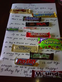 Birthday gift candy poem - clever - inexpensive and a treat! Surely to make anyone smile when they receive it!  Its not necessarily a gift for a kid... but one a kid can give!