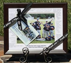 Love this frame for coach with personalized quotes from the kids. But it's even BETTER with a personalized gift card! (This gift card features an action shot of the coach's son. He loved it!)
